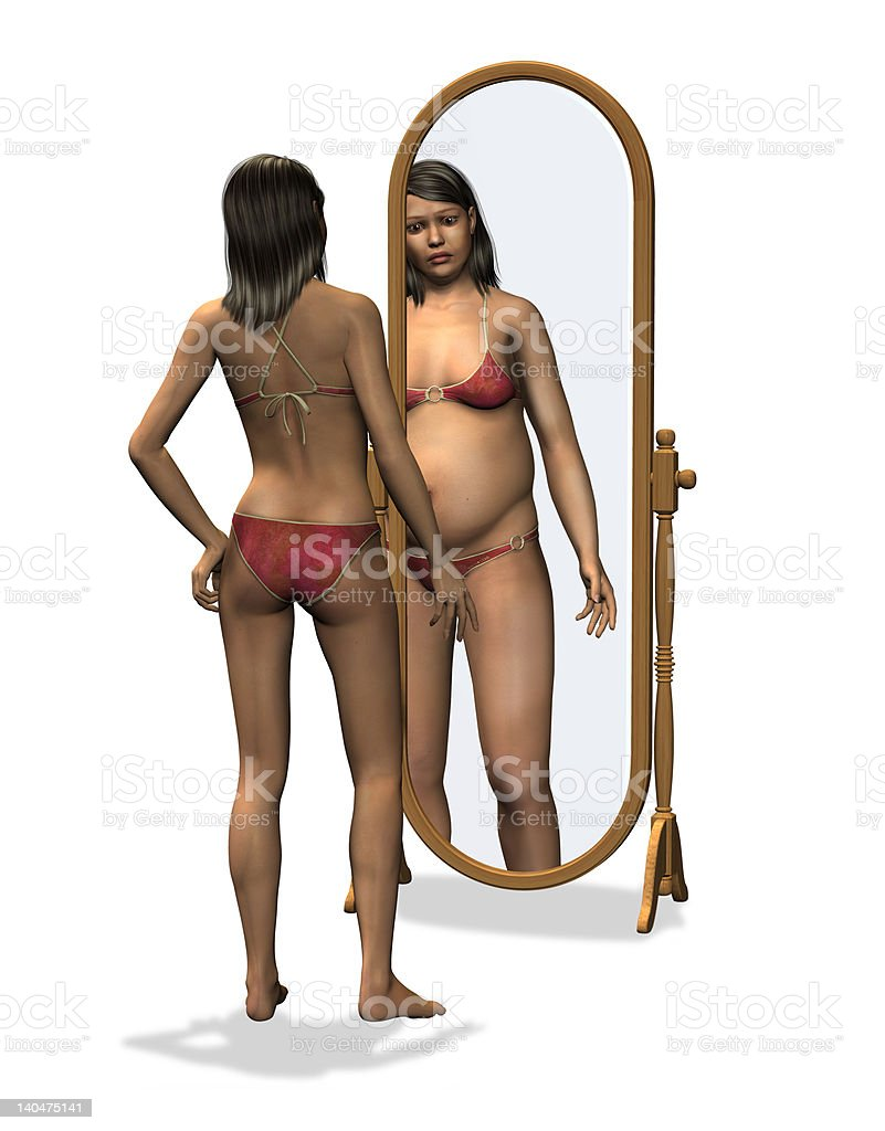 Anorexia - Distorted Body Image royalty-free stock photo