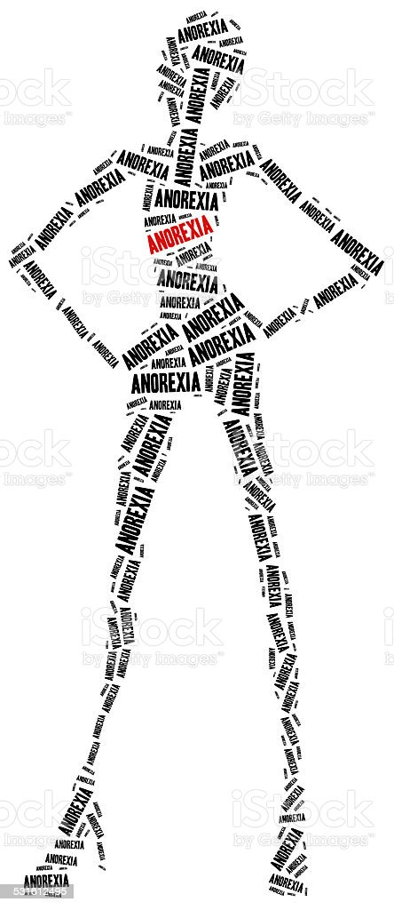 Anorexia or nutrition disorder concept stock photo
