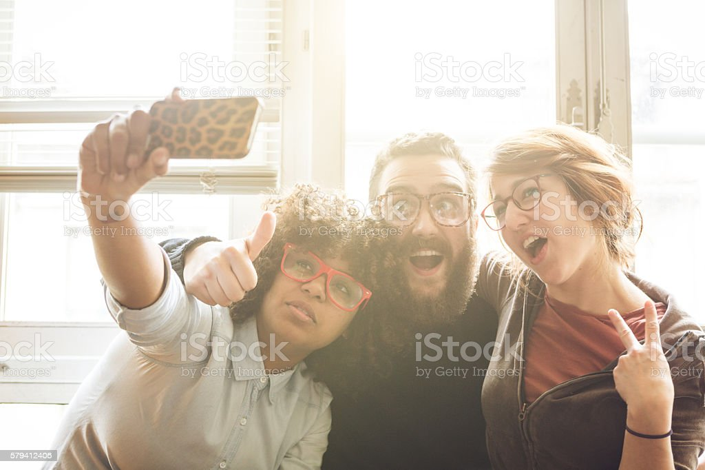 Another crazy selfie together stock photo