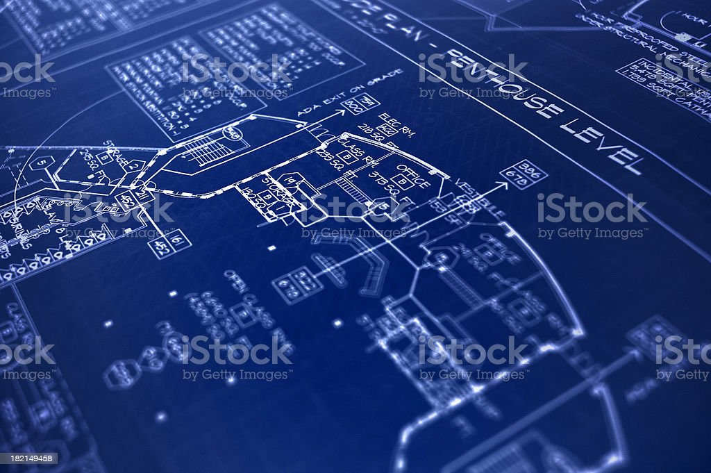 Another great penthouse level blueprint stock photo