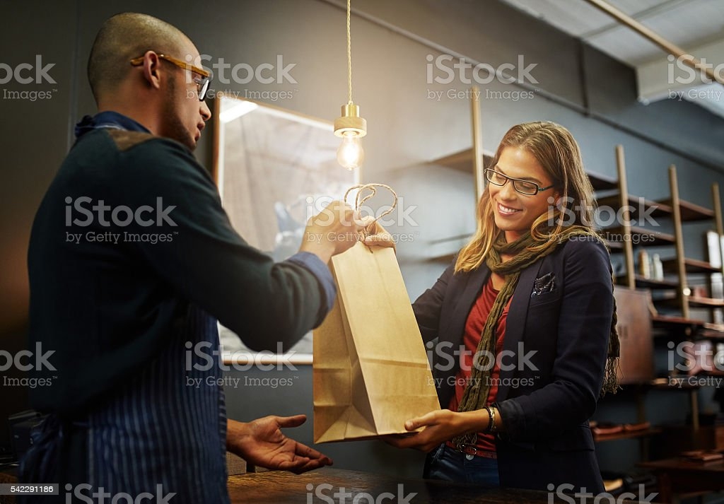 Another happy shopper stock photo