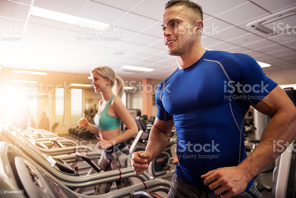 Another miles on the treadmill stock photo