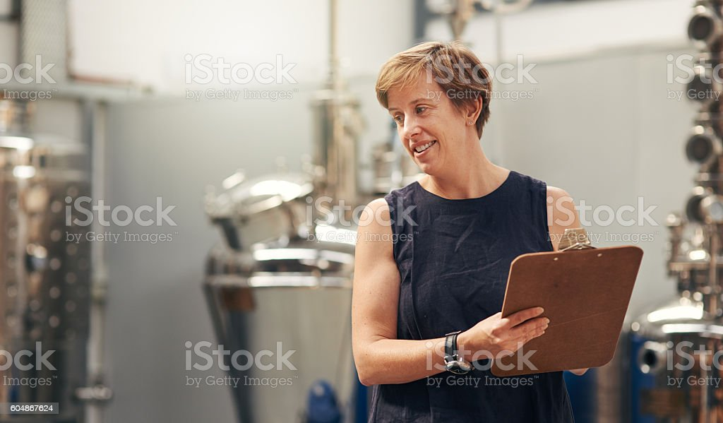 Another successful day at the distillery...check! stock photo