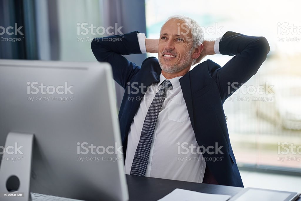 Another successful day in the office stock photo