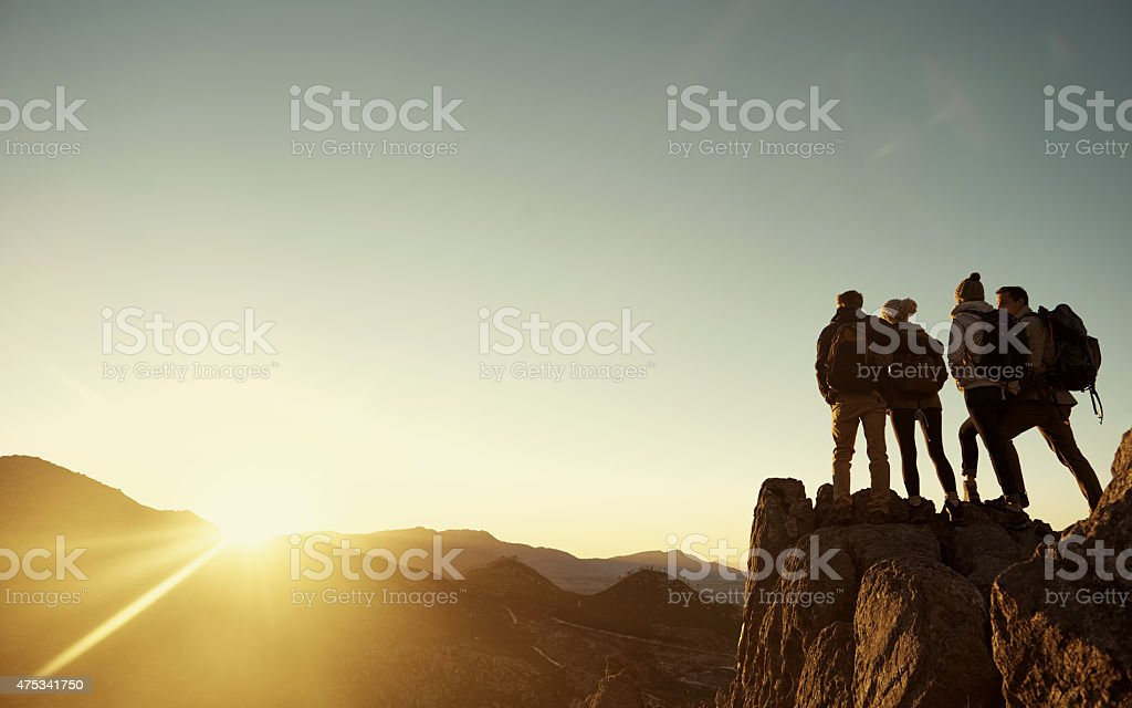 Another summit conquered stock photo