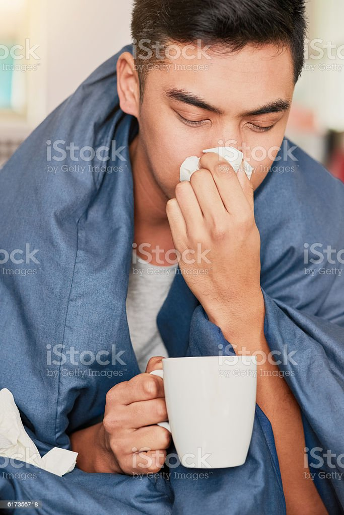 Another victim of the man flu stock photo
