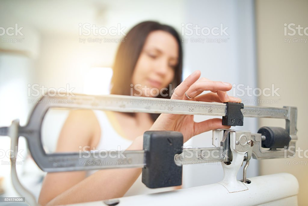 Another week on the scale stock photo