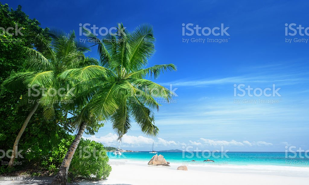 Anse Lazio beach at Praslin island, Seychelles stock photo