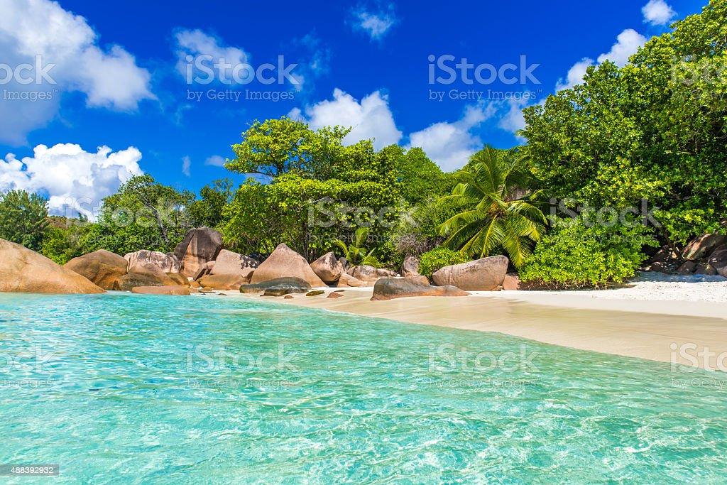 Anse Lazio - Beach in Seychelles, island Praslin stock photo