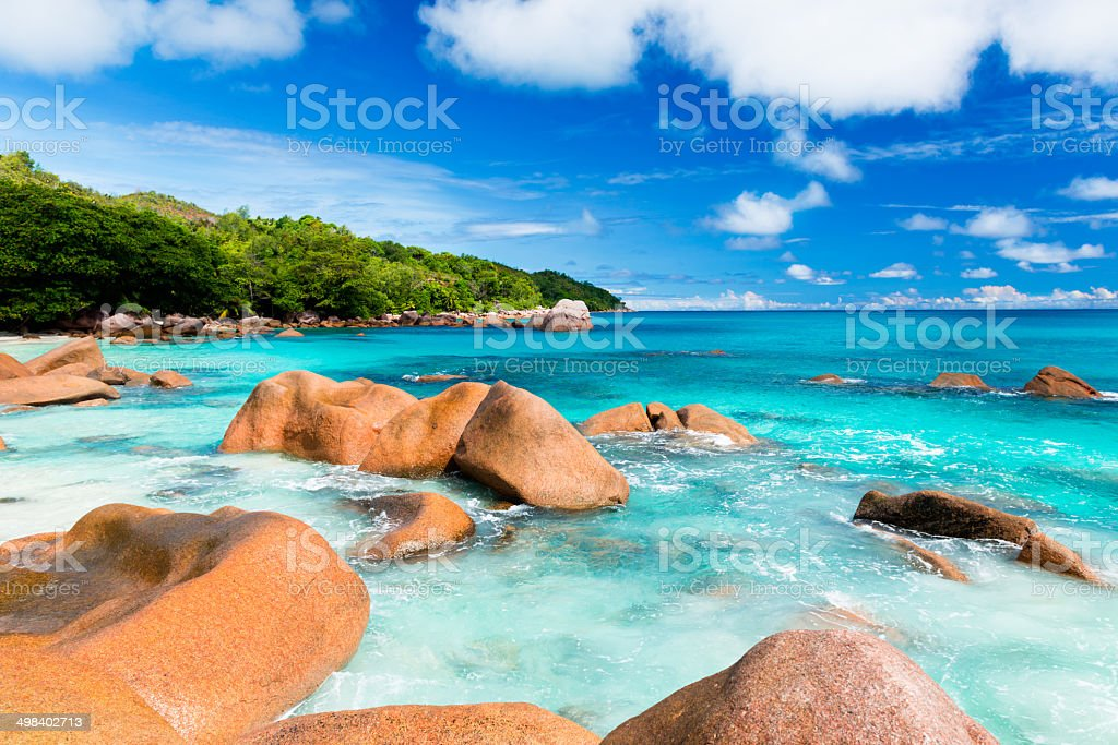 Anse Lazio, Praslin island, the Seychelles royalty-free stock photo
