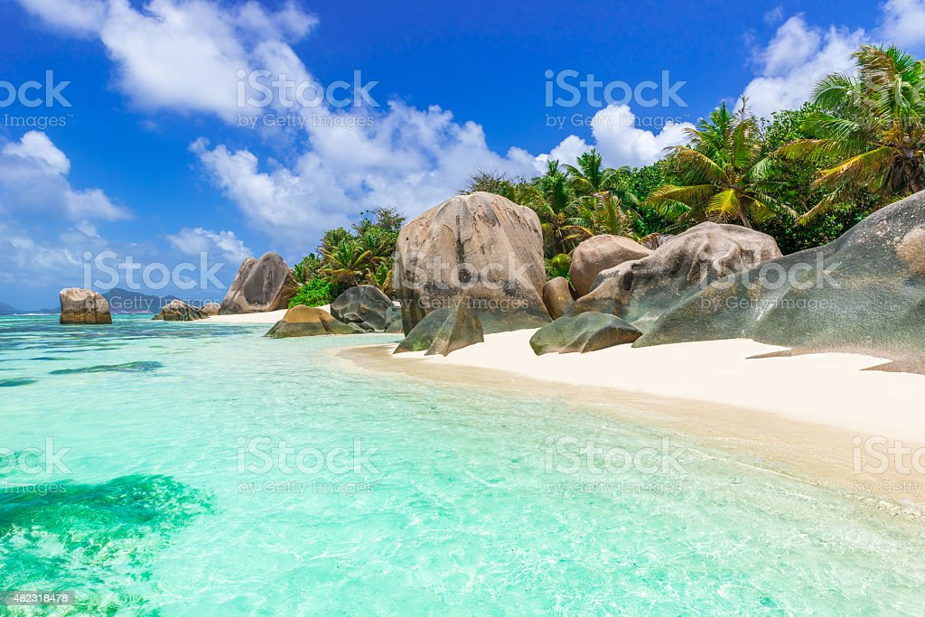 Anse Source d'Argent - beach on island in Seychelles stock photo