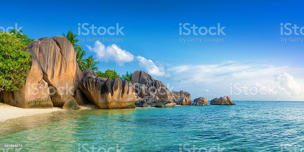 anse source d'argent beach on la digue island  seychelles stock photo