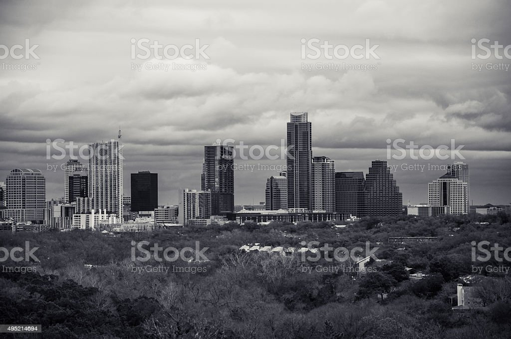 Ansel Inspired Austin Texas Seasons Changing Cityscape stock photo