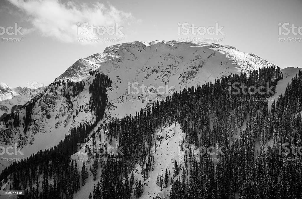 Ansel Inspired Winter Kachina Peak Taos New Mexico stock photo