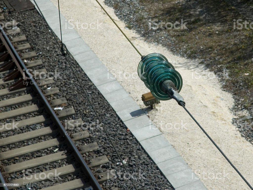 Ansicht Gleise mit Leitung und Kompensator stock photo