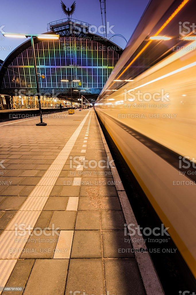 Ansterdam Central  Station: rainbow train stock photo