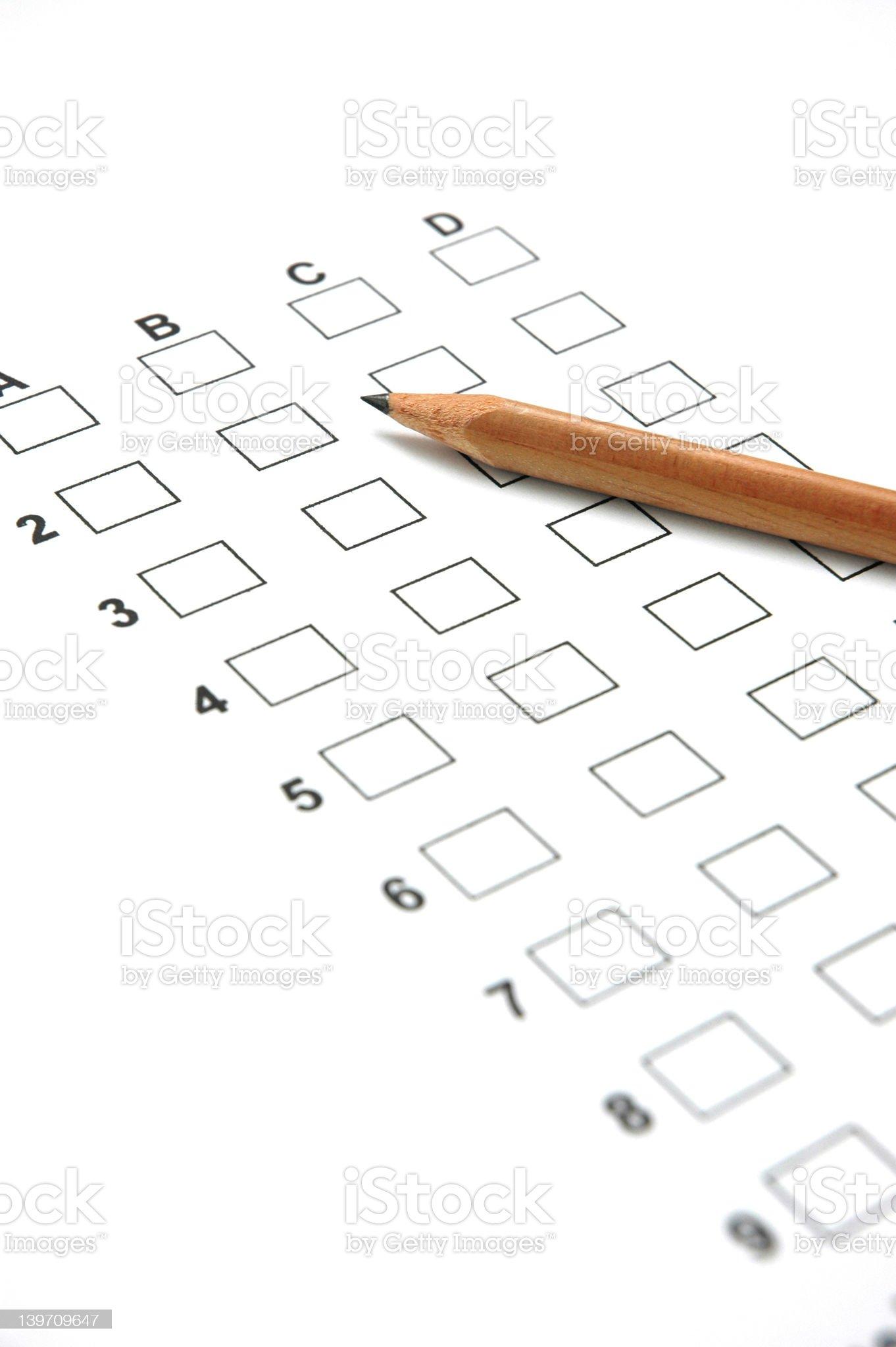 Answer Sheet 1 royalty-free stock photo