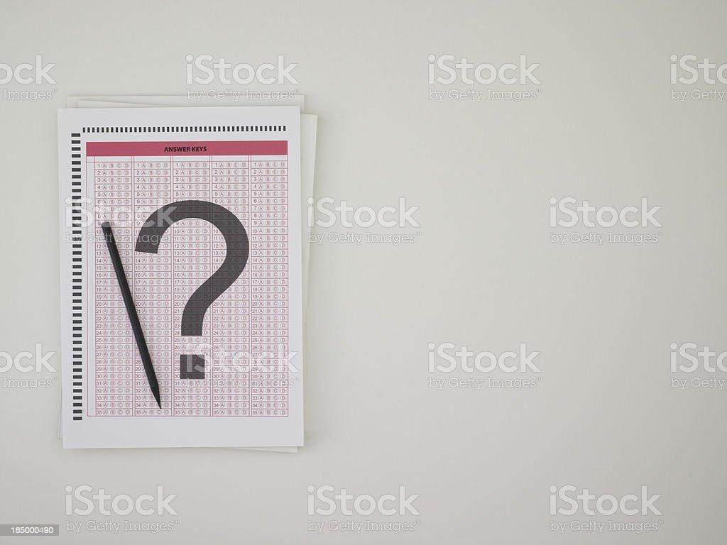 Answer sheet stock photo