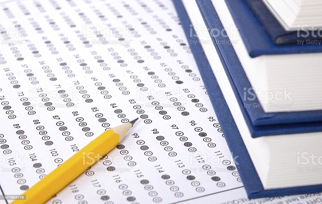 Answer sheet with pencil stock photo