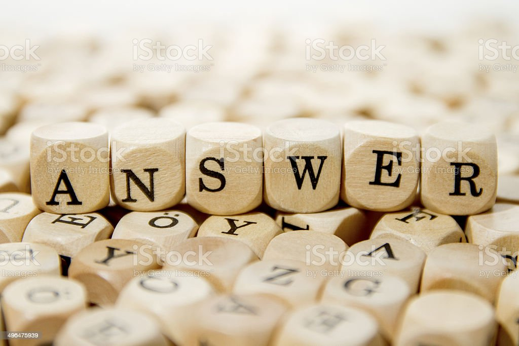 Answer word background stock photo