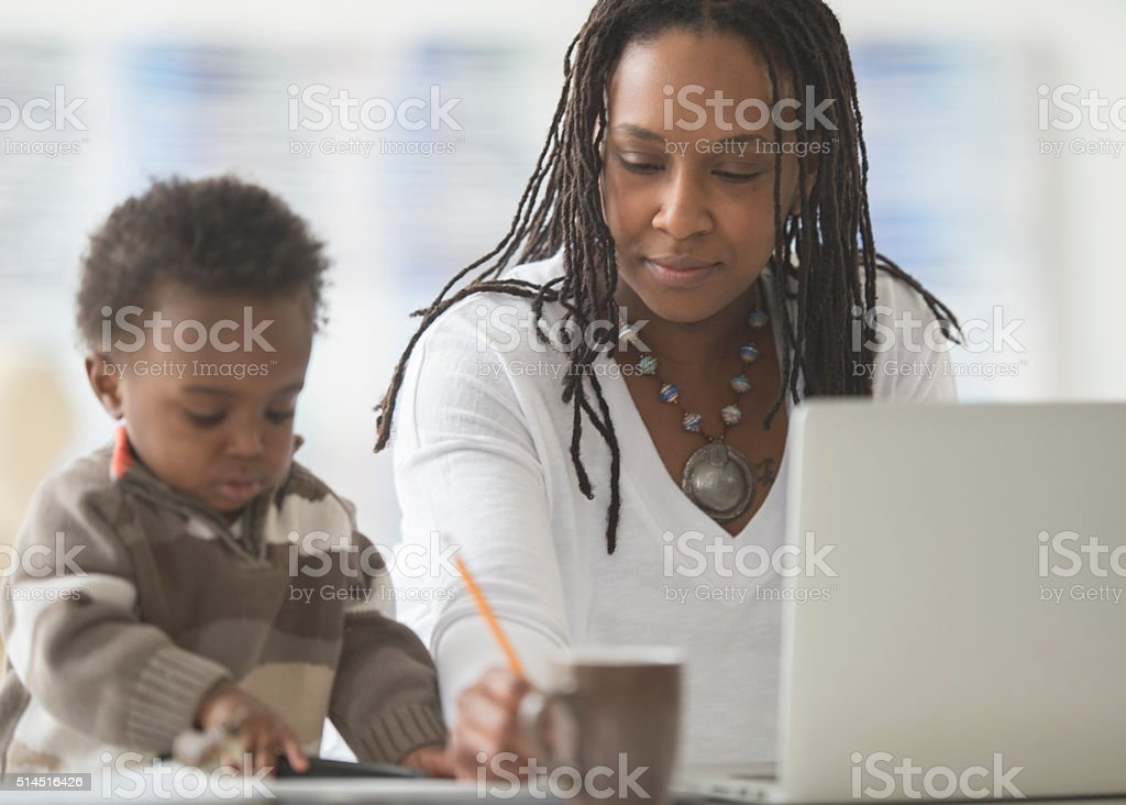 Answering Emails in a Home Office stock photo