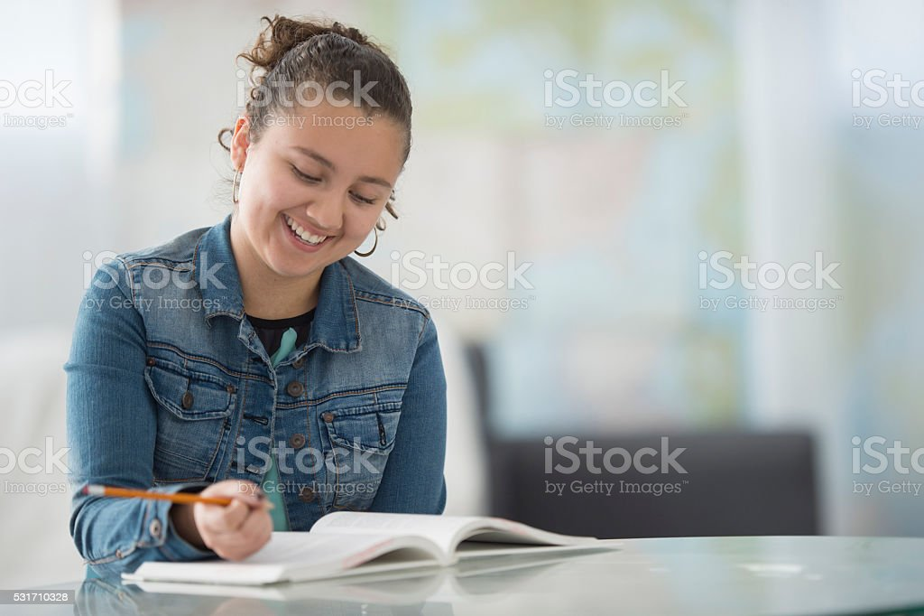 Answering Homework Questions After School stock photo