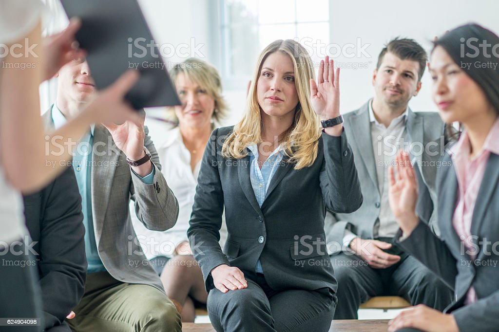 Answering Questions During a group Interview stock photo