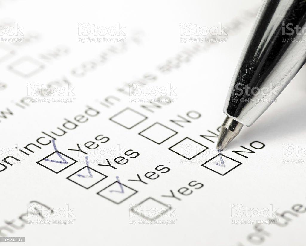 Answering survey royalty-free stock photo
