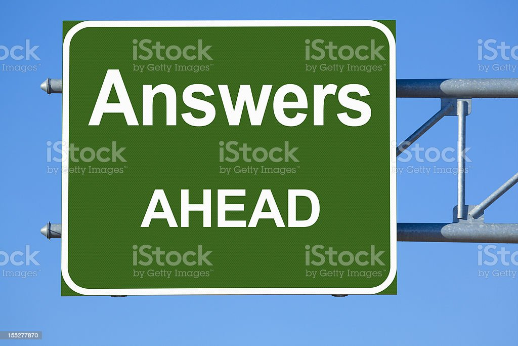 Answers Ahead Highway Sign stock photo