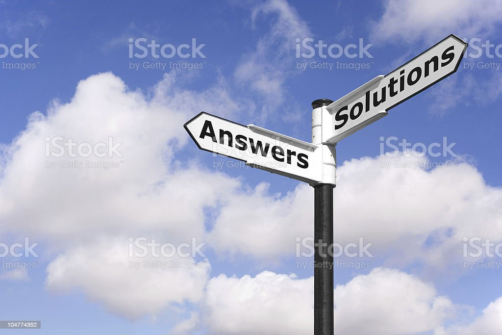 Answers and Solutions signpost royalty-free stock photo