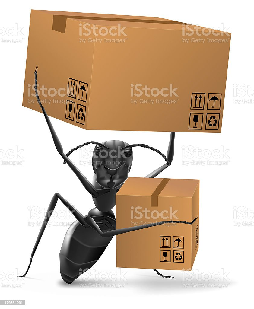 ant carrying two cardboard boxes deliver move to new home royalty-free stock photo