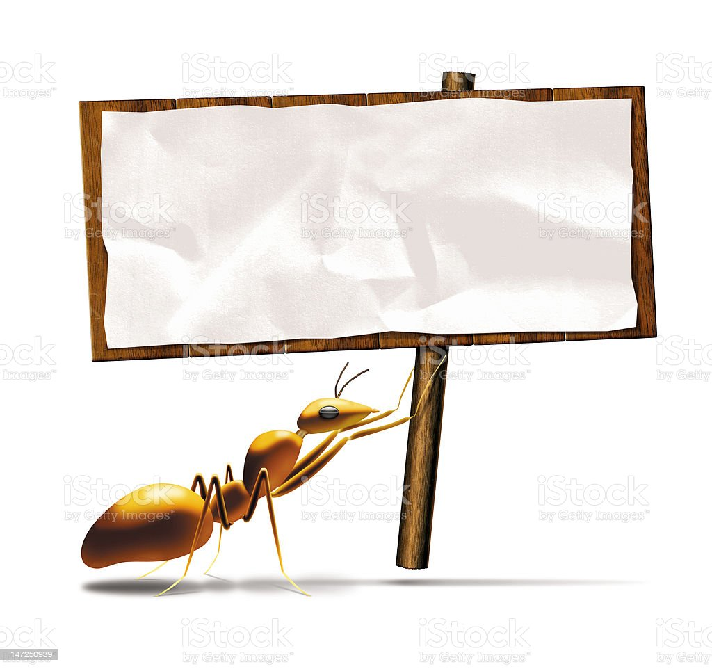Ant holding a blank sign royalty-free stock photo