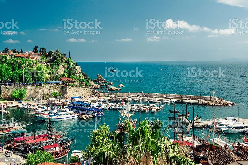 Antalya harbor. Turkey stock photo