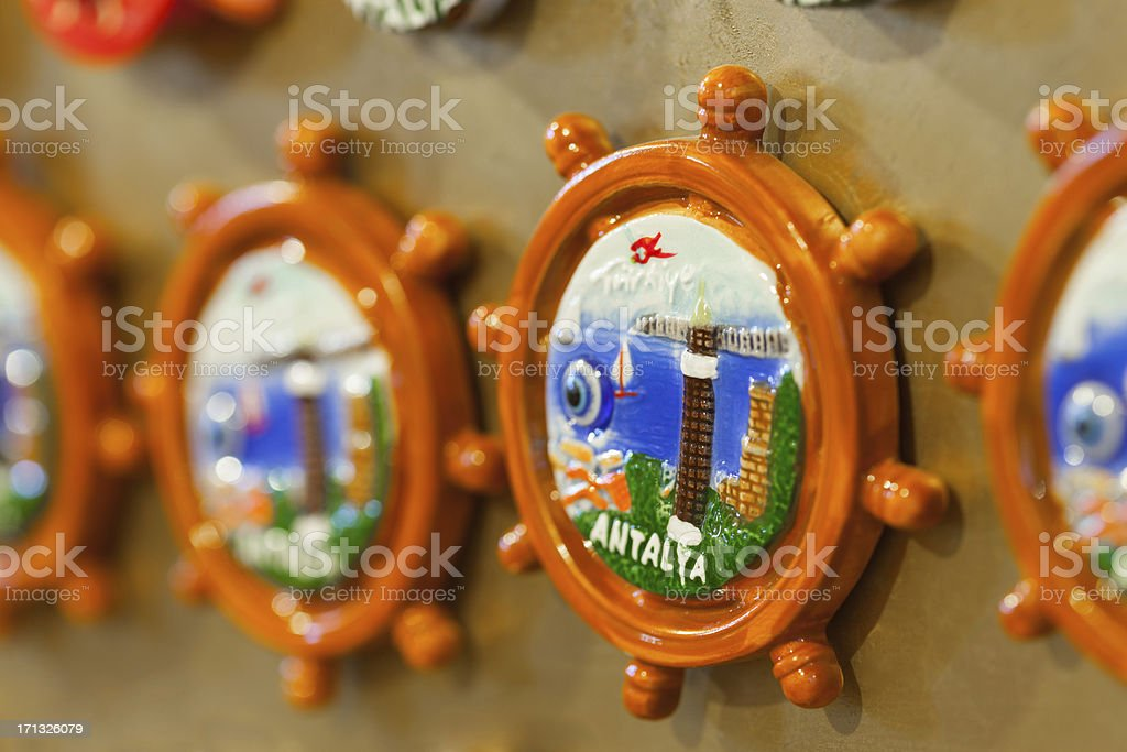 Antalya (city of Turkey) souvenirs as refrigerator magnets royalty-free stock photo