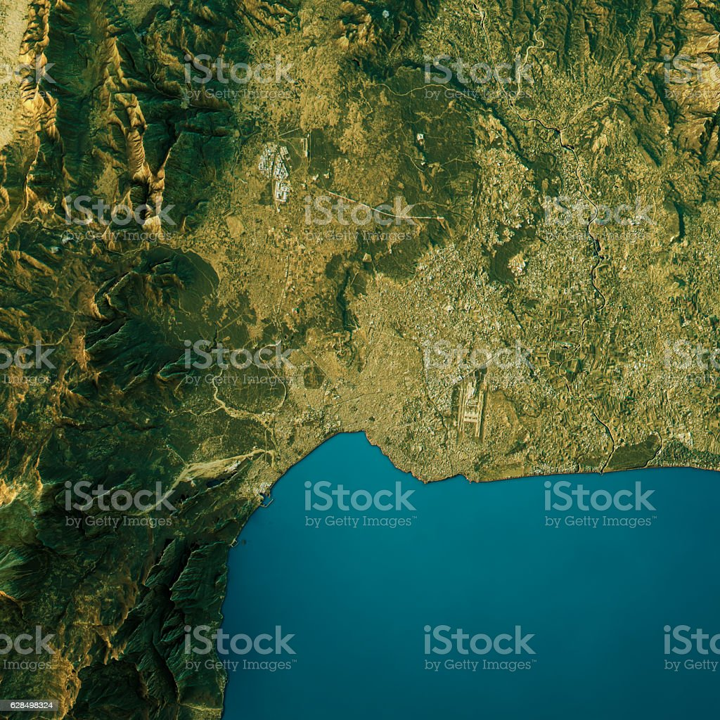 Antalya Topographic Map Natural Color Top View vector art illustration