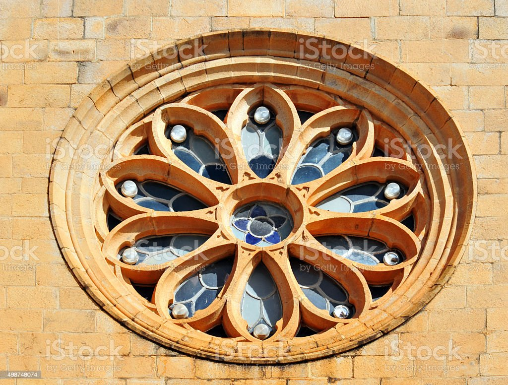 Antananarivo, Madagascar: Andohalo cathedral rose window stock photo