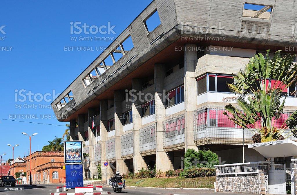 Antananarivo, Madagascar: Central Bank of Madagascar and Presidential Palace stock photo