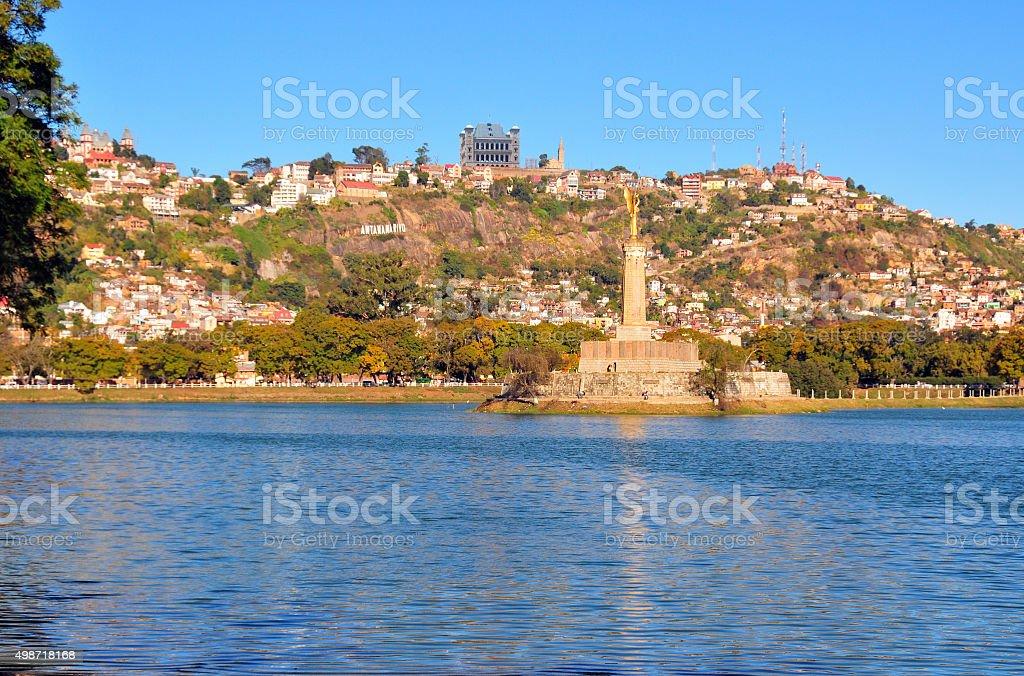 Antananarivo, Madagascar: lake and skyline, peak of Analamanga stock photo