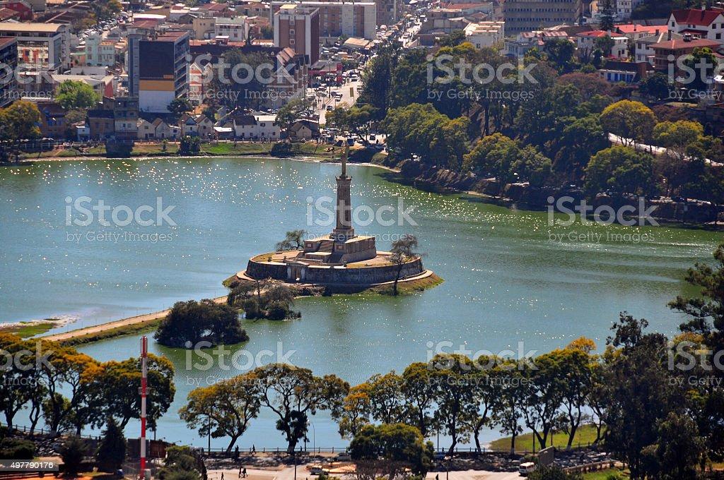 Antananarivo, Madagascar: Lake Anosy and war memorial stock photo