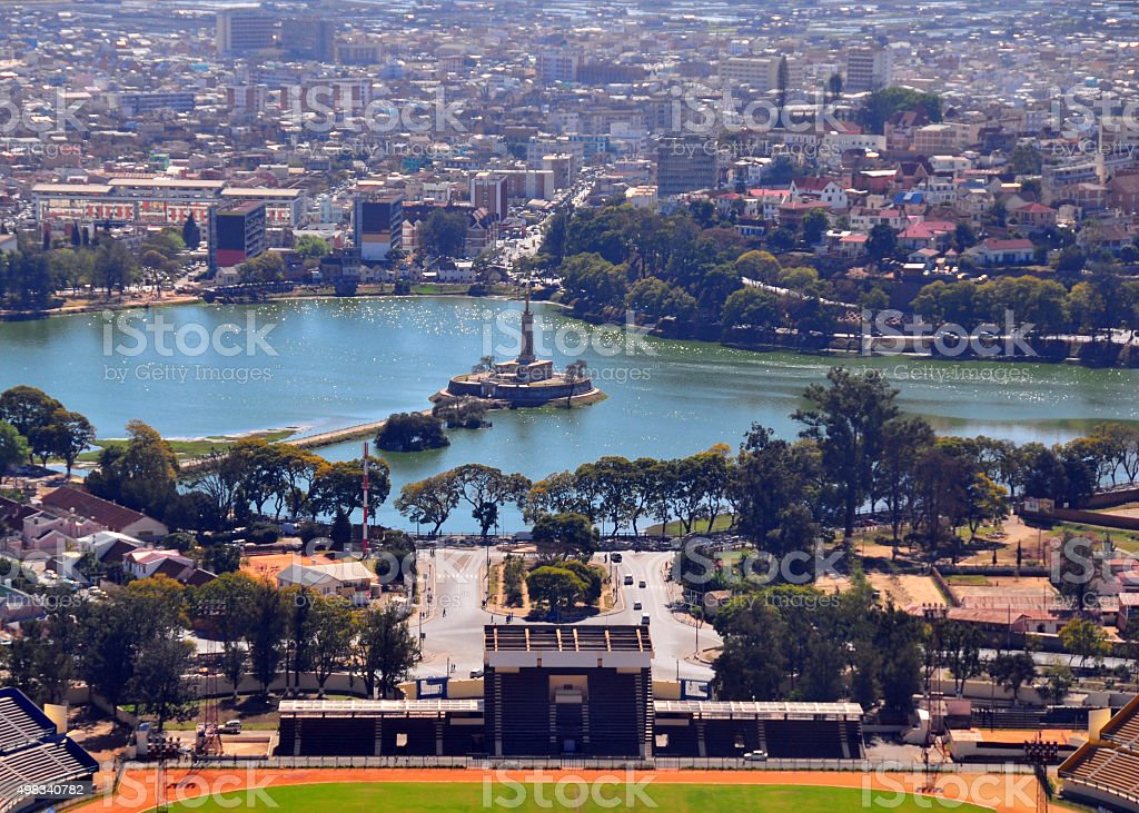 Antananarivo, Madagascar: lake with war memorial, the Monument aux Morts stock photo