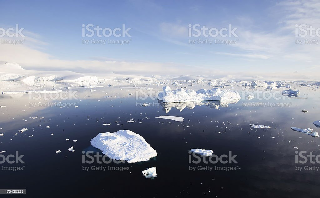 Antarctic Landscape - Iceberg Reflections stock photo