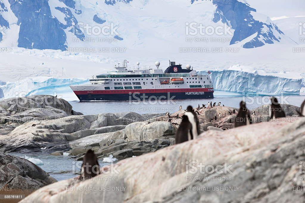 Antarctic Peninsula cruise ship Hurtigruten stock photo