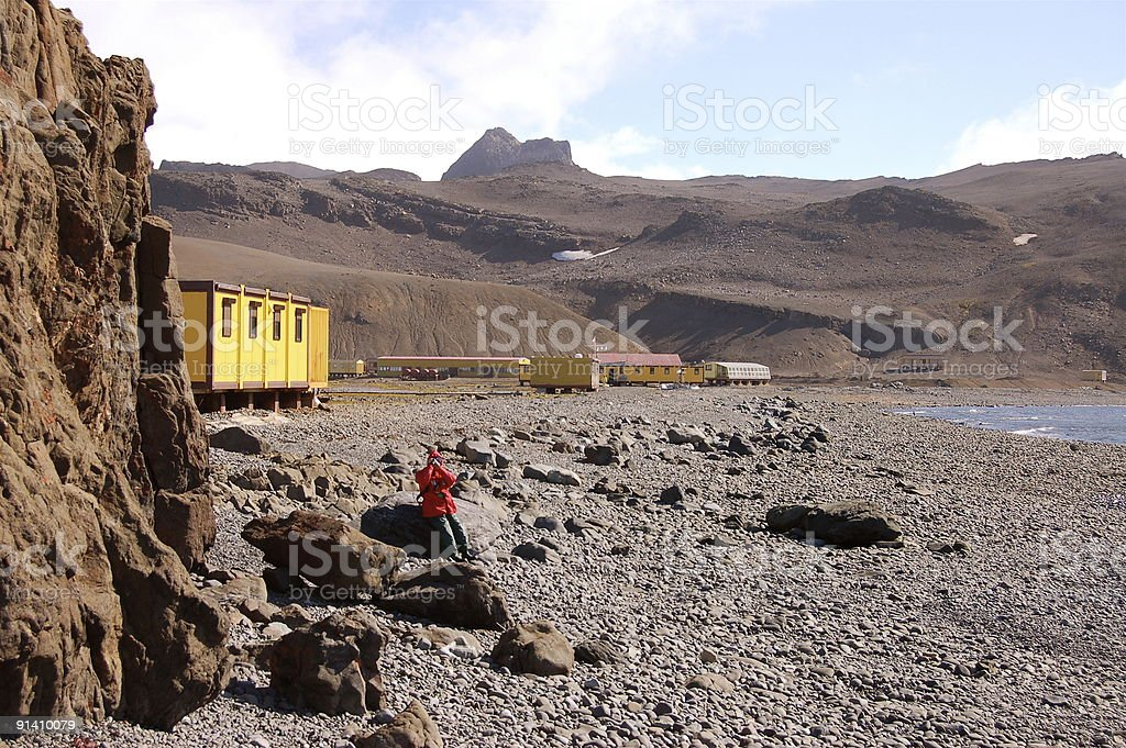Antarctic Research Station Support With Birder stock photo