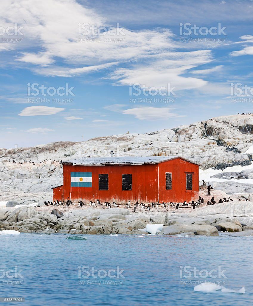 Antarctica abandoned argentine research station stock photo