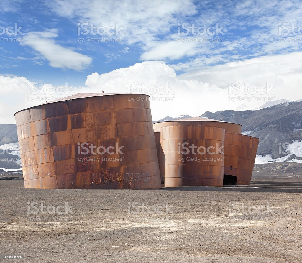 Antarctica Deception Island with old whaling station stock photo