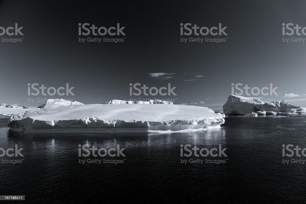 Antarctica Icebergs BW royalty-free stock photo