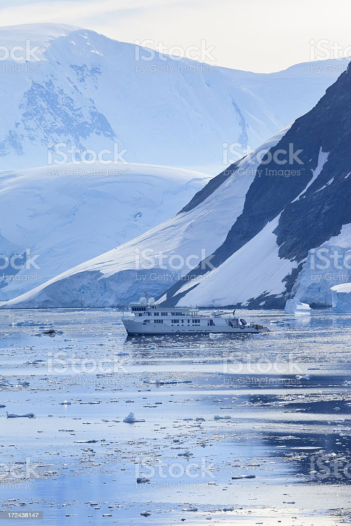Antarctica Lemaire Channel Mountain with ship royalty-free stock photo