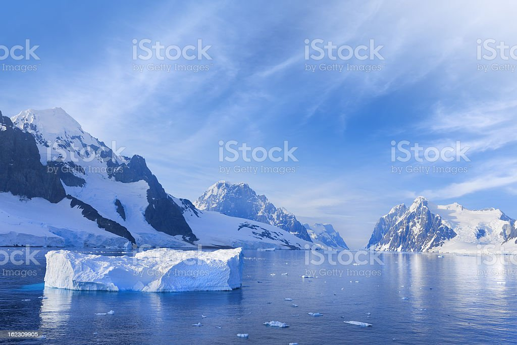 Antarctica Lemaire Channel snowy mountain stock photo