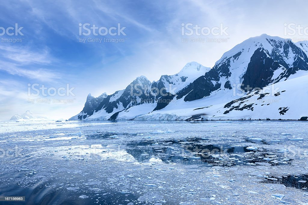 Antarctica Lemaire Channel snowy mountain royalty-free stock photo