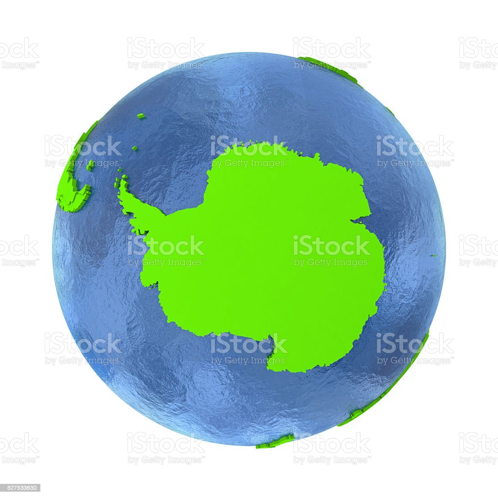 Antarctica on green Earth stock photo